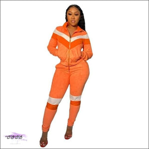 'Curves & Swag' Two Piece Velvet Tracksuit orange suit / L / United States