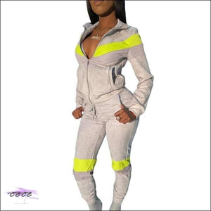 'Curves & Swag' Two Piece Velvet Tracksuit silver 2 piece set / XXL / United States