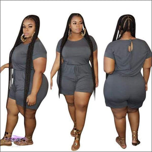 Women Plus Size Two Piece Set Casual Solid Short Sleeve Tops T-Shirt + Bikers Short Pants Suit gray / 4X / United States