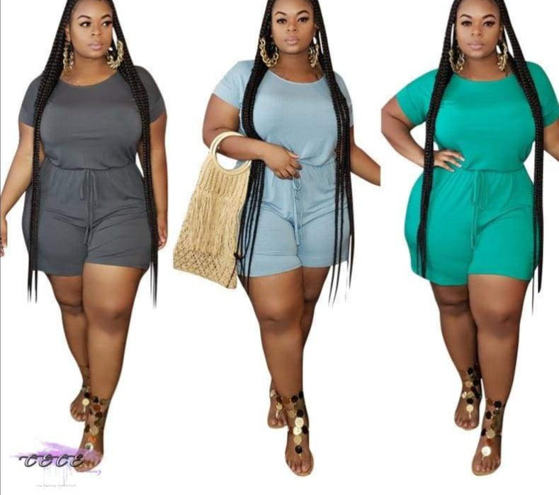 Women Plus Size Two Piece Set Casual Solid Short Sleeve Tops T-Shirt + Bikers Short Pants Suit
