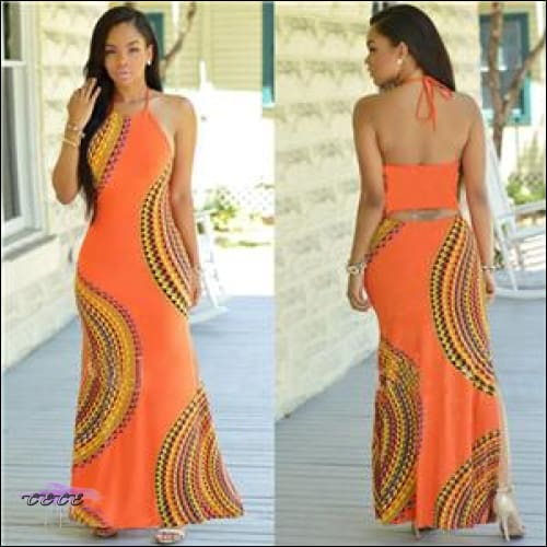 Adogirl Fashion Print Women Bodycon Dress Sexy Backless Lace Up Halter Bandage Maxi Dress Female orange / S
