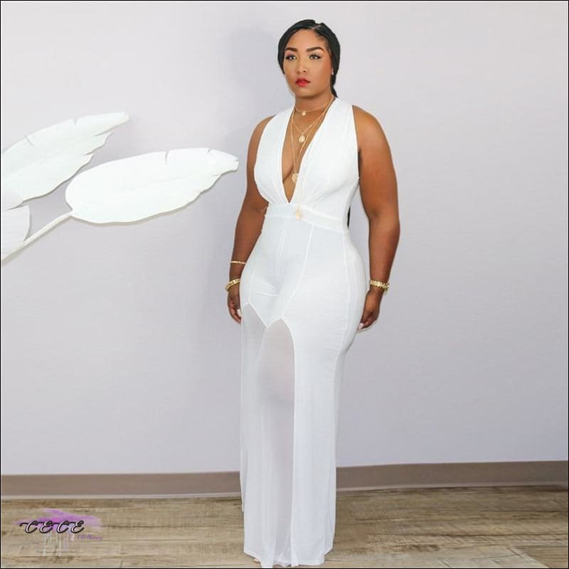 'Curvy In All My Glory' Sleeveless V Neck Chiffon Jumpsuit