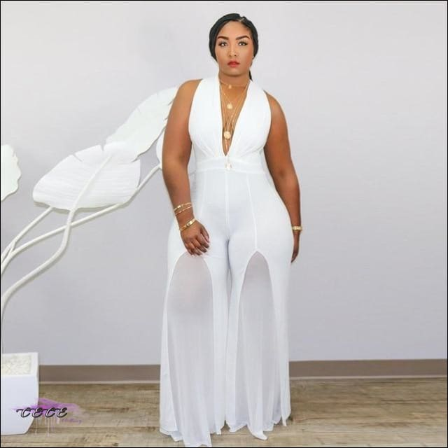 'Curvy In All My Glory' Sleeveless V Neck Chiffon Jumpsuit white jumpsuit / 3X / United States