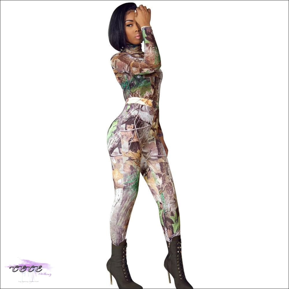 'Curvy In Camo' Two Piece Mock Neck Long Sleeve Shirt + Leggings