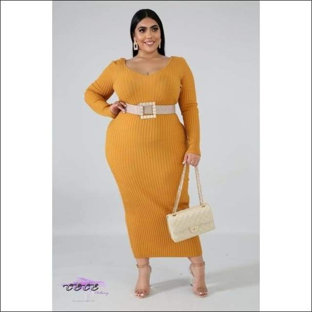 'Curvy In Da Fall' Plus Size Ribbed V Neck Maxi Dress yellow dress / XL / United States