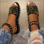 'Cute Toes & All' Diamond Spike Rivet Sandals leather gold / 43 / United States