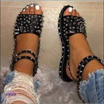 'Cute Toes & All' Diamond Spike Rivet Sandals leather Silver / 36 / United States