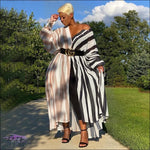 'Dashing Beauty' Patchwork Stripe Maxi Shirt Dress