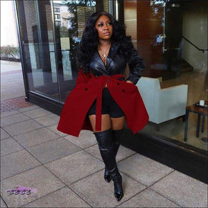 'Fashionable In These Winter Streets' Faux Leather Jacket Dress dark red / 2X