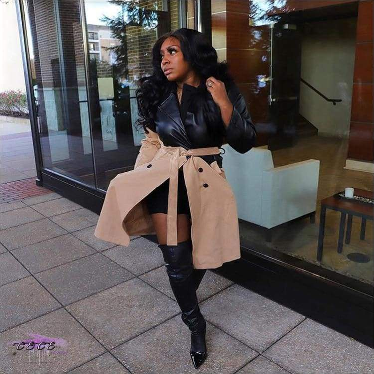 'Fashionable In These Winter Streets' Faux Leather Jacket Dress black khaki / S