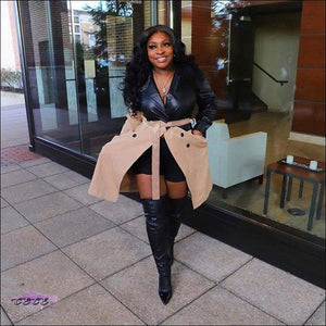 'Fashionable In These Winter Streets' Faux Leather Jacket Dress
