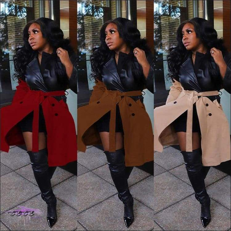 'Fashionable In These Winter Streets' Faux Leather Long Thick Jacket Coat