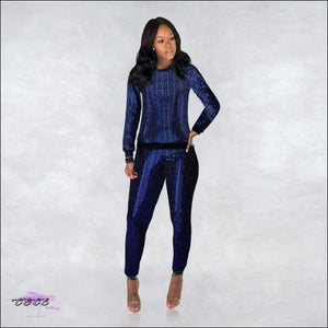 'Flashing My Beauty' Two Piece Sequins Tracksuit blue 2 piece set / M / CHINA