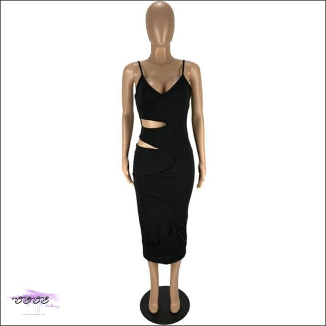 'Flaunt My Fineness' Cut Out Split Bandage Dress black dress / L / China