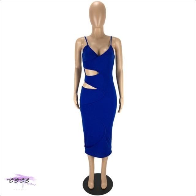 'Flaunt My Fineness' Cut Out Split Bandage Dress blue dress / S / China