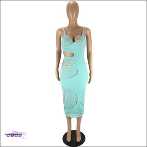 'Flaunt My Fineness' Cut Out Split Bandage Dress Cyan dress / S / China