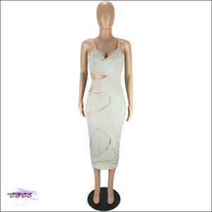'Flaunt My Fineness' Cut Out Split Bandage Dress gray dress / L / China