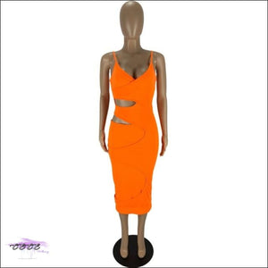 'Flaunt My Fineness' Cut Out Split Bandage Dress orange dress / S / China