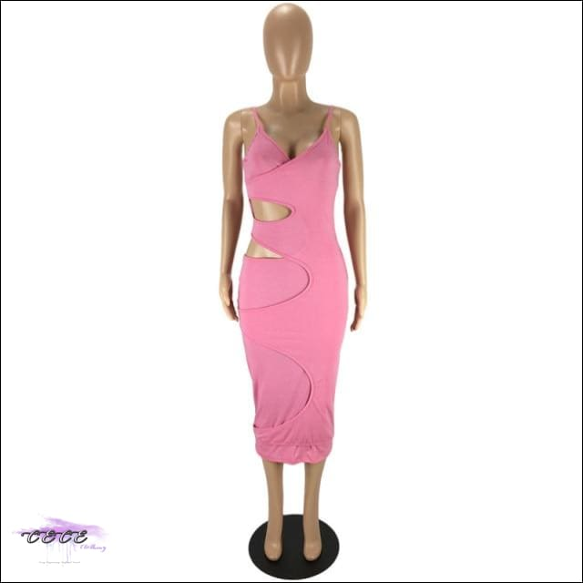 'Flaunt My Fineness' Cut Out Split Bandage Dress pink dress / L / China