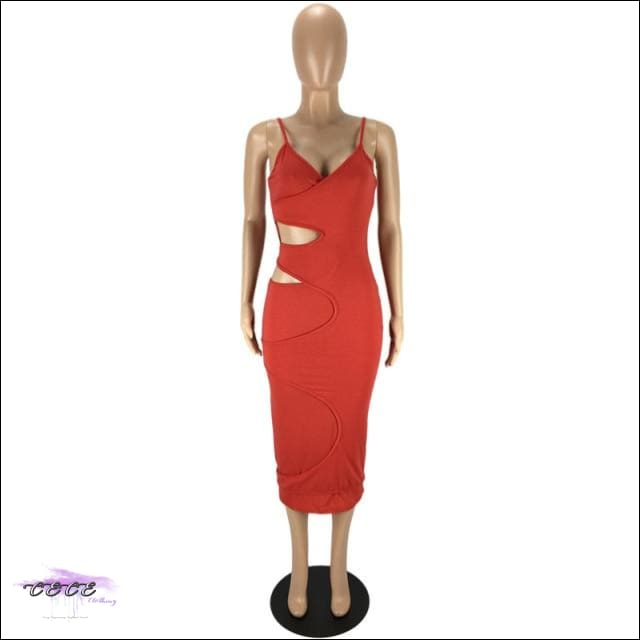 'Flaunt My Fineness' Cut Out Split Bandage Dress red dress / L / China