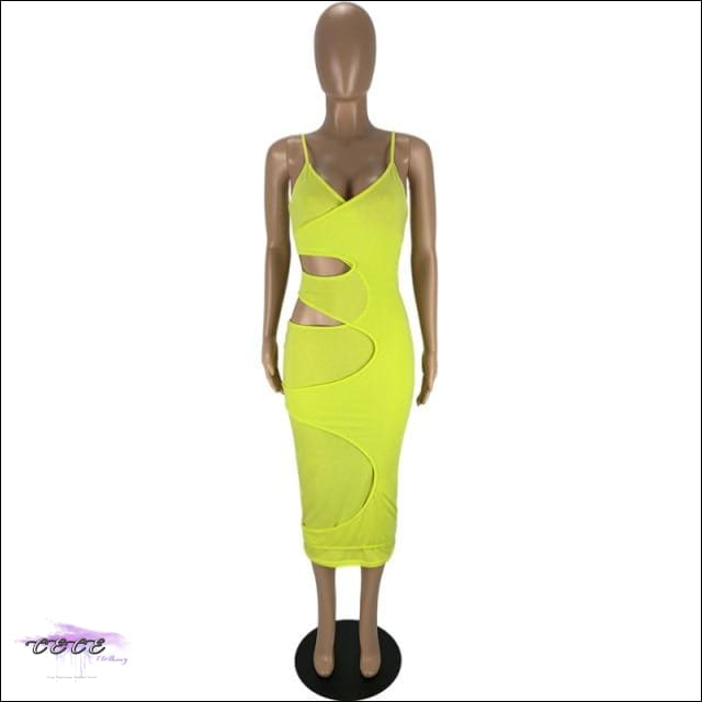 'Flaunt My Fineness' Cut Out Split Bandage Dress yellow dress / S / China