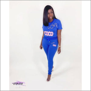 'Get This Coco Love' Two Piece Tracksuit Set blue suit / L / United States