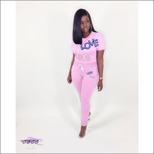 'Get This Coco Love' Two Piece Tracksuit Set pink suit / 2X / United States