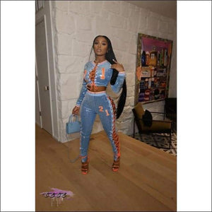 'Gettin All Da Attention' Embroidery Lace Up Sequins Two Piece Tracksuit blue tracksuit / XL / CN