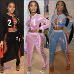 'Gettin All Da Attention' Embroidery Lace Up Sequins Two Piece Tracksuit