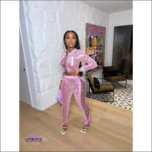 'Gettin All Da Attention' Embroidery Lace Up Sequins Two Piece Tracksuit pink tracksuit / S / CN