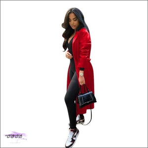 'Getting Stares Everywhere' Solid PU Leather Trench Coat red coat / XXL / United States