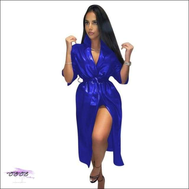 'Getting Stares Everywhere' Solid PU Leather Trench Coat royal blue coat / XXL / United States