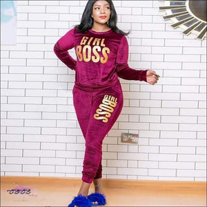 'Girl Boss' Two Piece Velvet Tracksuit