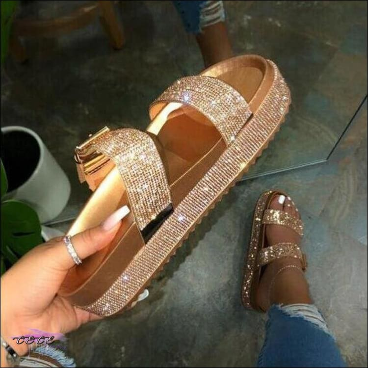 'Glitter These Toes' Sequins Sandals Gold / 10