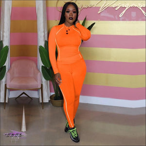Glow Up These Curves Athleisure Two Piece Tracksuit Orange / 1X