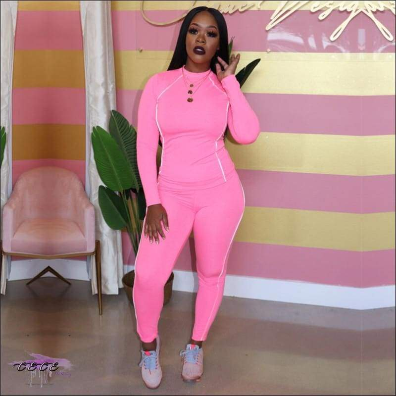 Glow Up These Curves Athleisure Two Piece Tracksuit Pink / 2X