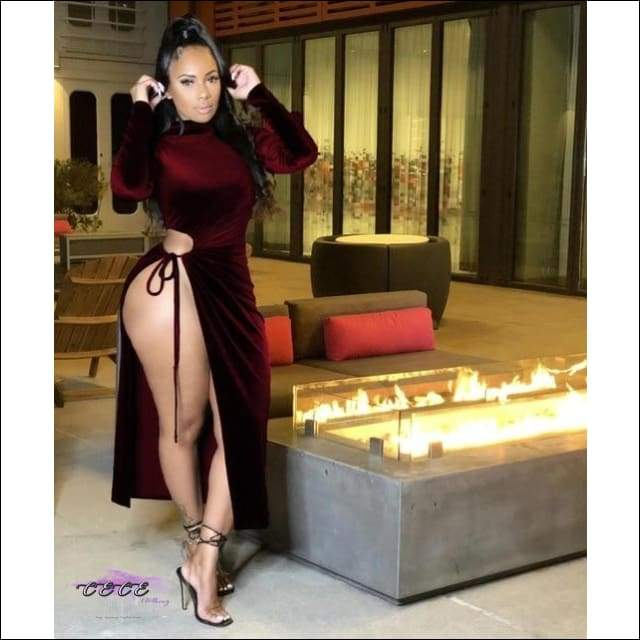 'Go Ahead & Stare' High Split Velvet Midi Turtleneck Dress burgundy dress / XXL / United States