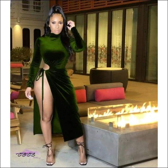 'Go Ahead & Stare' High Split Velvet Midi Turtleneck Dress green dress / XXL / United States