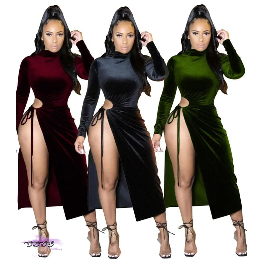 'Go Ahead & Stare' High Split Velvet Midi Turtleneck Dress