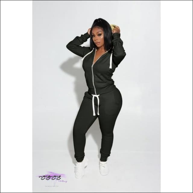'Got Them Sporty Curves' Comfy Two Piece Tracksuit black / 2X
