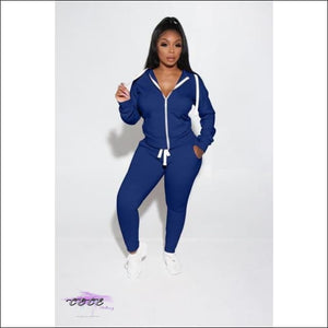 'Got Them Sporty Curves' Comfy Two Piece Tracksuit blue / 1X