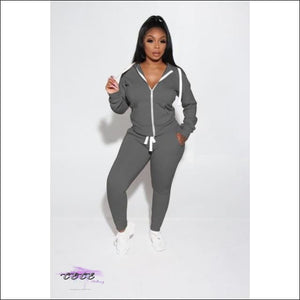 'Got Them Sporty Curves' Comfy Two Piece Tracksuit gray / S