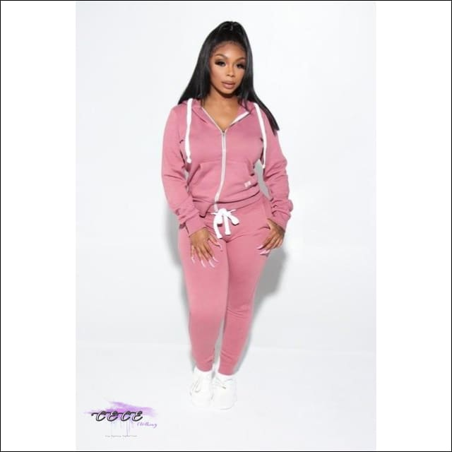 'Got Them Sporty Curves' Comfy Two Piece Tracksuit light red / M