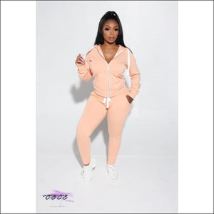 'Got Them Sporty Curves' Comfy Two Piece Tracksuit pink / M