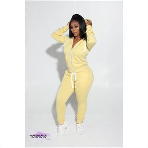 'Got Them Sporty Curves' Comfy Two Piece Tracksuit yellow / S