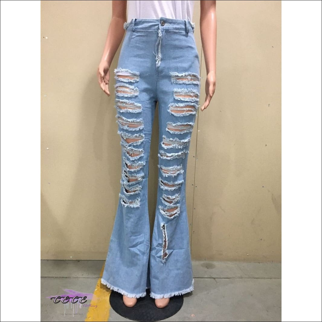 'Got Them Whoa Curves' Tassel Denim Flare Ripped Jeans