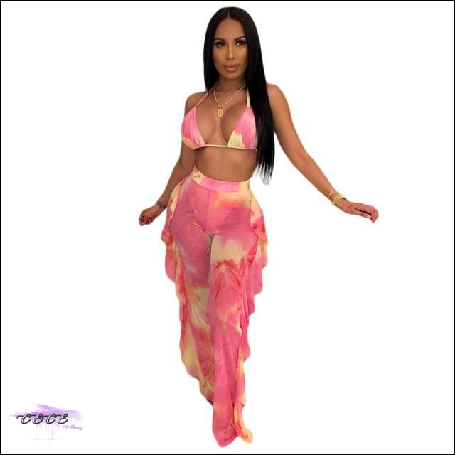 Highlight My Curves Tie Dye Two Piece Swimsuit pink / S