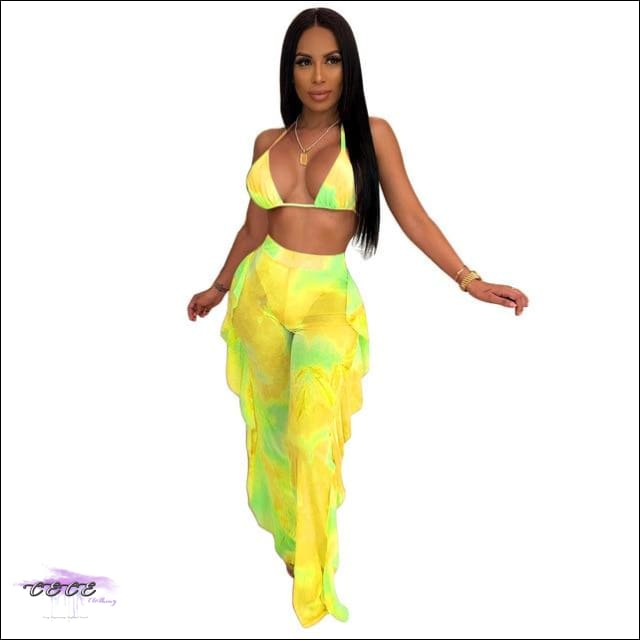 Highlight My Curves Tie Dye Two Piece Swimsuit yellow / S