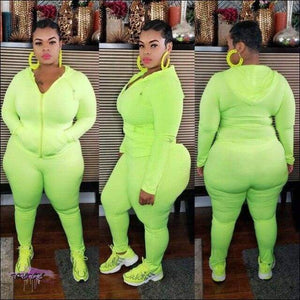 'Highlight My Sexiness' Two Piece Long Sleeve Tracksuit Fluorescent green / 1X