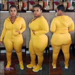 'Highlight My Sexiness' Two Piece Long Sleeve Tracksuit yellow / 4X